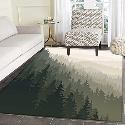 Forest Area Mat Carpet Northern Parts of The World with Coniferous Trees Scandinavian Woodland Living Dining
