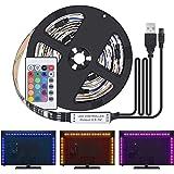 Kit de Ruban LED 2M - [4 Pack*0.5m]LED Bande USB 60 LEDs 5050 RGB LED Light Strip Flexible Multicolore Décoration Chambre TV Tableau Miroir avec Télécommande de 24 Touches+3 Connecteurs+Câble USB