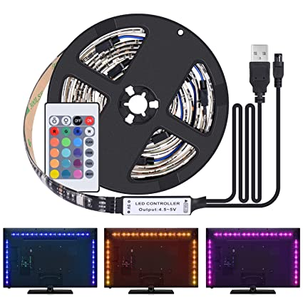 Kit De Ruban Led 2m 4 Pack 0 5m Led Bande 60 Leds 5050 Rgb Led Light Strip Flexible Multicolore Décoration Chambre Tv Tableau Miroir Avec