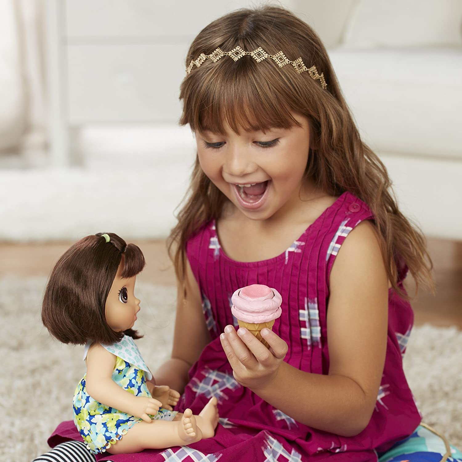 Perfect Toy For 3-Year-Old Girls and Boys and Up Hasbro C1089AF1 Comb and More Scooper BABY ALIVE MAGICAL SCOOPS BABY: Brunette Baby Doll with Dress and Accessories: Ice Cream Cone
