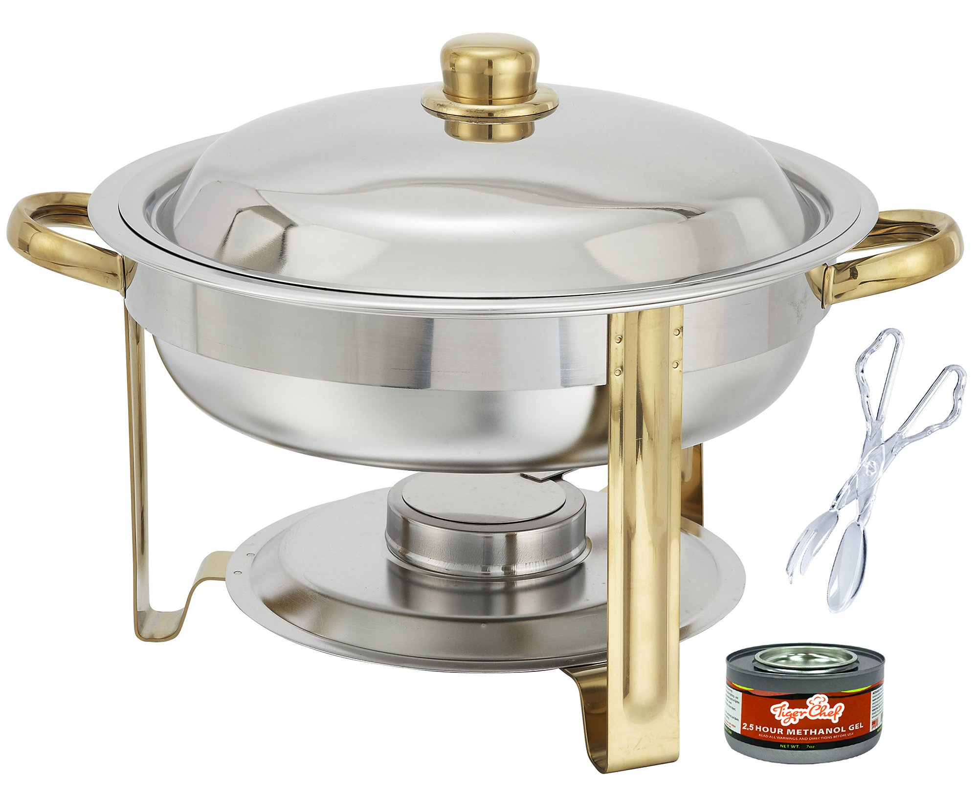 Tiger Chef 4 Quart Round Chafing Dish Buffet Warmer Set, Gold Accented Chafer, Includes Free Chafing Fuel Gel and Plastic Serving Tongs