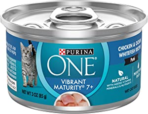 Purina ONE Grain Free, Natural Senior Pate Wet Cat Food, Vibrant Maturity 7+ Chicken & Ocean Whitefish Recipe - (12) 3 oz. Pull-Top Cans