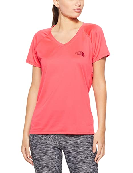 The North Face Women s Short Sleeve Reaxion AMP V Neck at Amazon Women s  Clothing store  1dbf4071e4dd