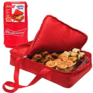 """Budweiser Insulated Casserole Carrier- Game Day Tailgating Appetizer Carrier - (11"""" x 17"""") Keeps Food Warm or Cold For Up To 1 Hour"""