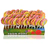 Toonpops - Assorted Fruity Flavoured Candy Swirl Lollipop Birthday Pack 60 pcs, 2.25 inch round with Display Box, 1500 g
