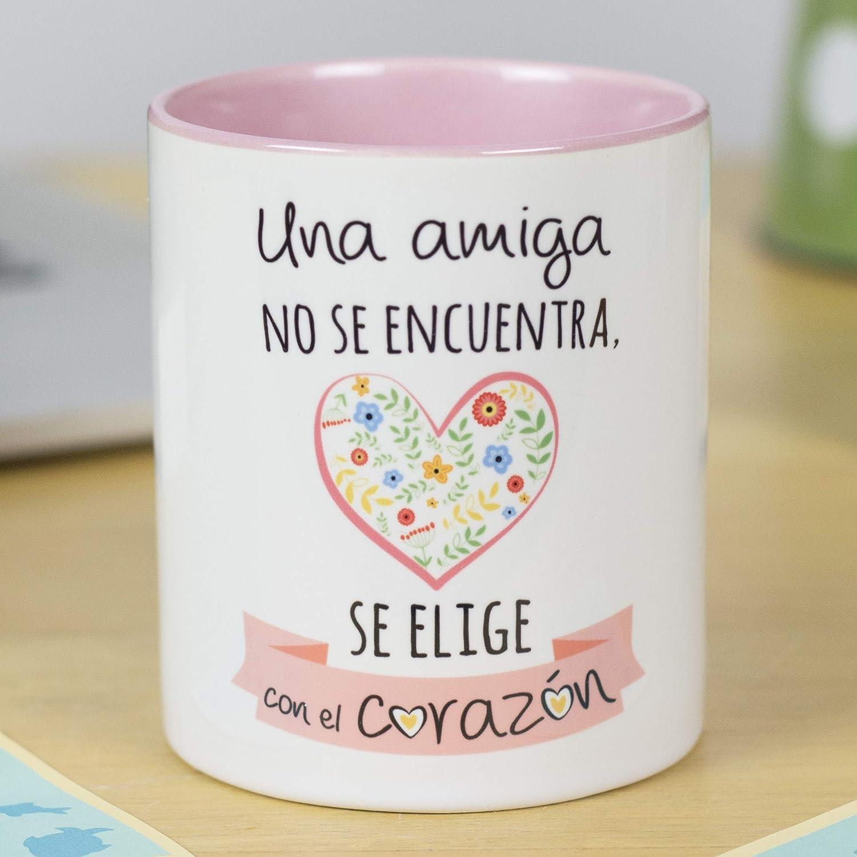 La Mente es Maravillosa - Taza con Frase y Dibujo Divertido (Una amiga no se encuentra, se elige con el corazón) Regalo Original Amigas