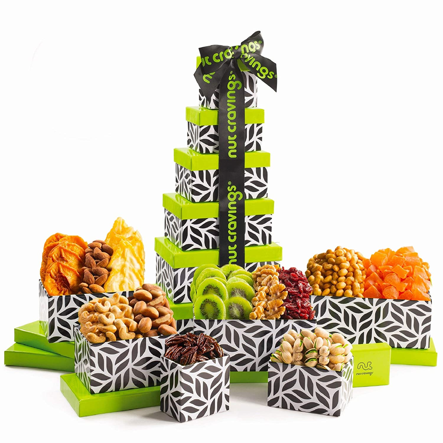 Gourmet Dried Fruit & Nut Gift Basket, Leaf Tower (12 Mix) - Easter Food Arrangement Platter, Care Package Variety, Prime Birthday Assortment, Healthy Kosher Snack Box for Women, Men, Adults