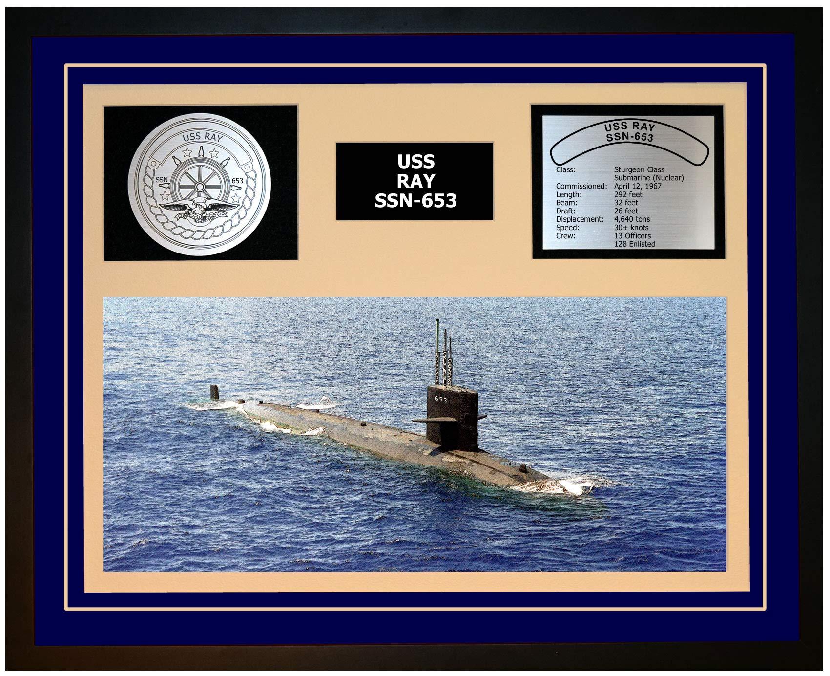 Navy Emporium USS RAY SSN 653 Framed Navy Ship Display Blue
