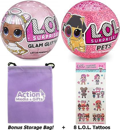 4 GLITTER  PETS YELLOW EYE SPY SET LOT 4 L.O.L Surprise Doll Ball LOL Series 3