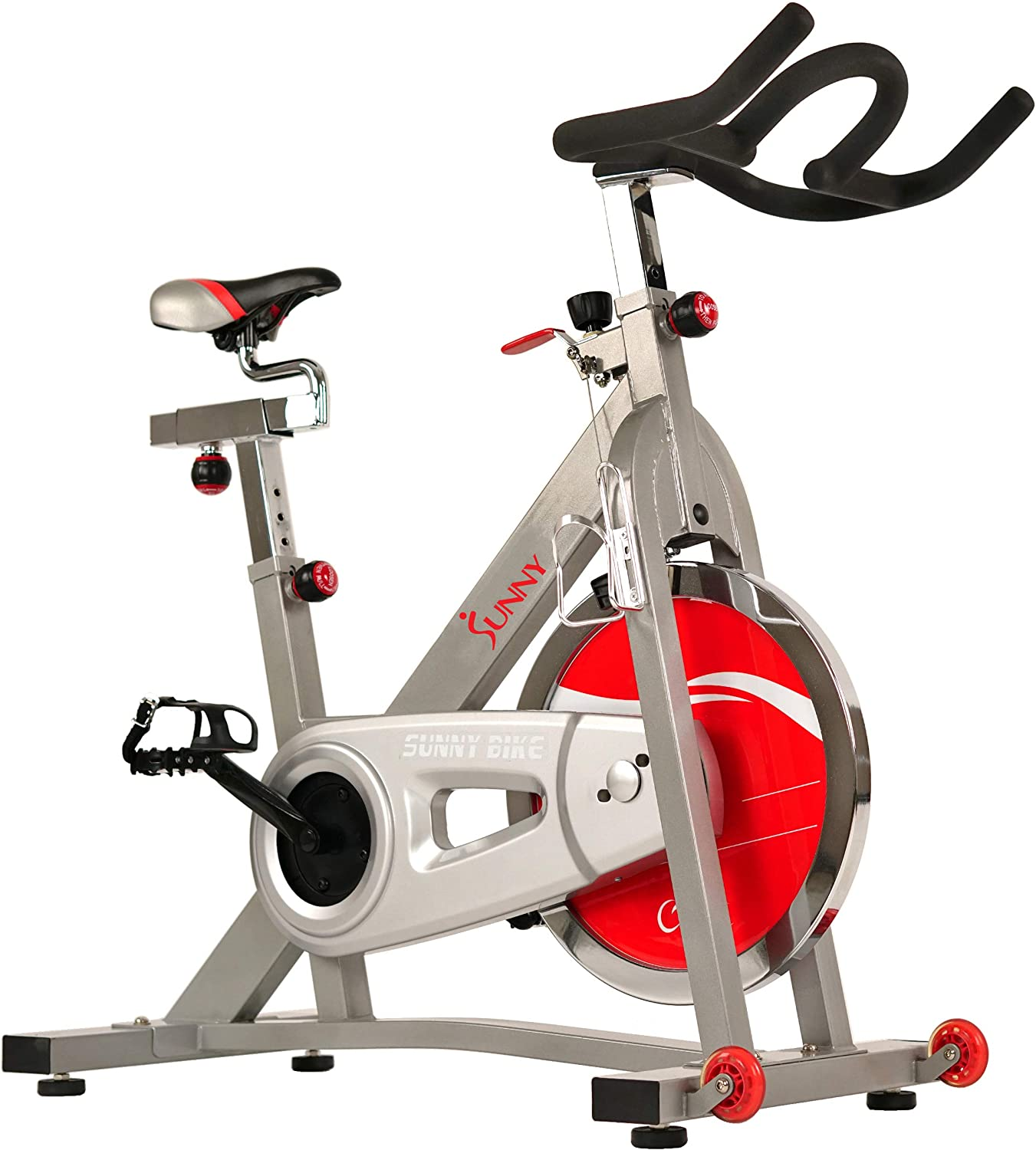 Sunny Health & Fitness Pro Indoor Cycling Bike with 40 LB Chromed Flywheel, Dual Felt Pad Resistance with Caged Pedals, Adjustable Seat and Handlebar, ...