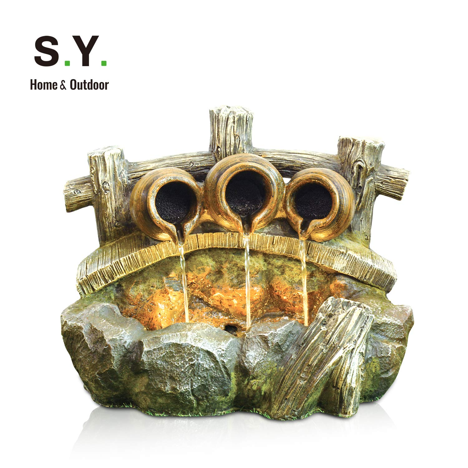 S.Y. Water Fountain Cascading Resin-Rock Tabletop Fountain, Indoor Oudoor Waterfall Feature with LED Lights & Pump Decorative Fountain for Stress Relief, 21 x 17 x 15 inches