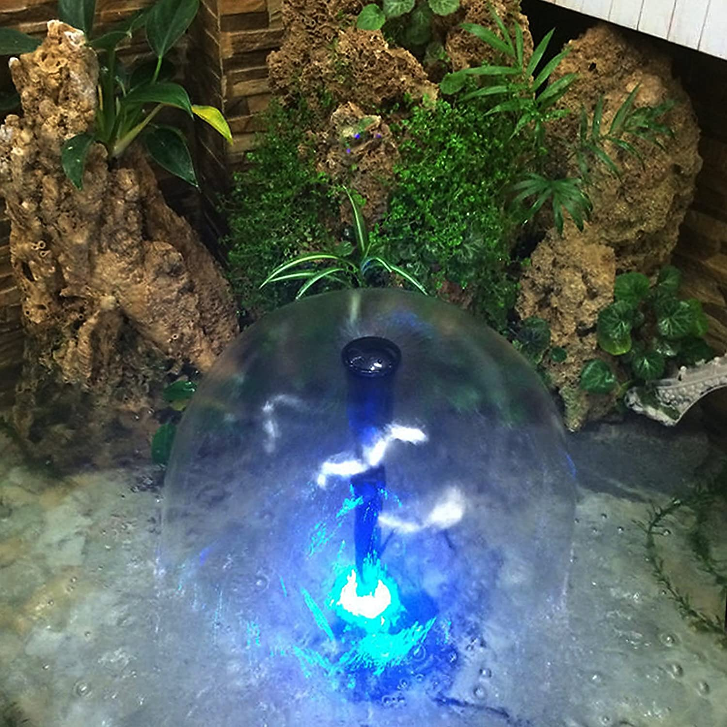 Water Fountain Pump 140GPH with 3 Sprinkler Heads Outdoor Submersible Birdbath Pump (15W; 4 Colors Light Ring, Telescopic Tube): Home Improvement