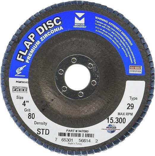 "Mercer 347036 4/"" Premium Zirconia Flap Disc 36 Grit 4/"" x 5//8/"""