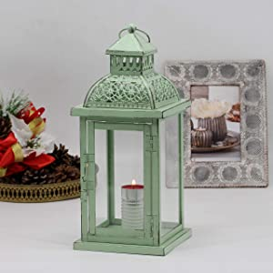 Ninganju 13 Inches Tall Rustic Decorative Candle Lantern Metal Antique Outdoor Decorative Hanging Lanterns Great for Wedding, Patio Parties, Indoor/Outdoor Decorative(Vintage Green)