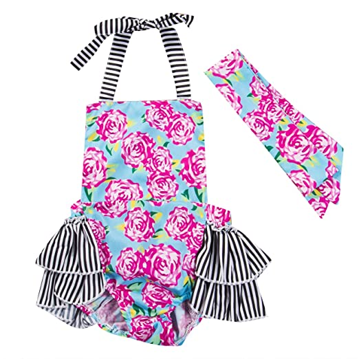 b3e404b9a2d2 Amazon.com  Baby Girl Rose Floral Halter Ruffled Romper Jumpsuit One ...