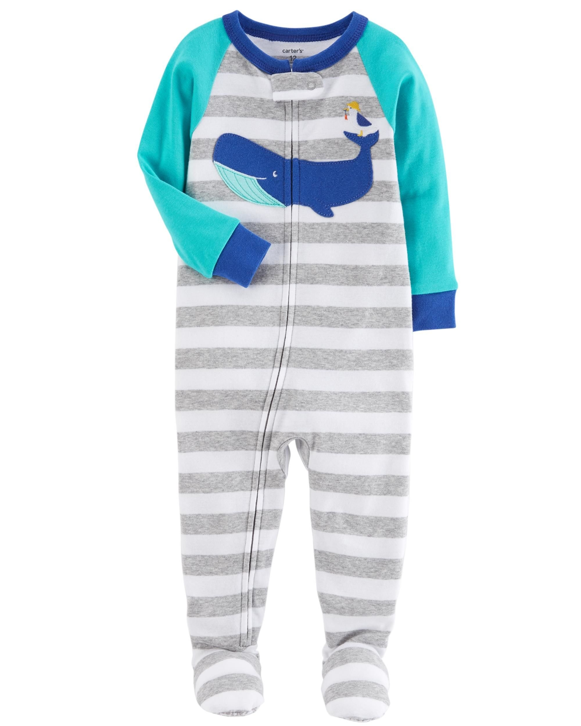 Carter's Baby Boys' One Piece Whale Snug Fit Cotton Pajamas 12 Months