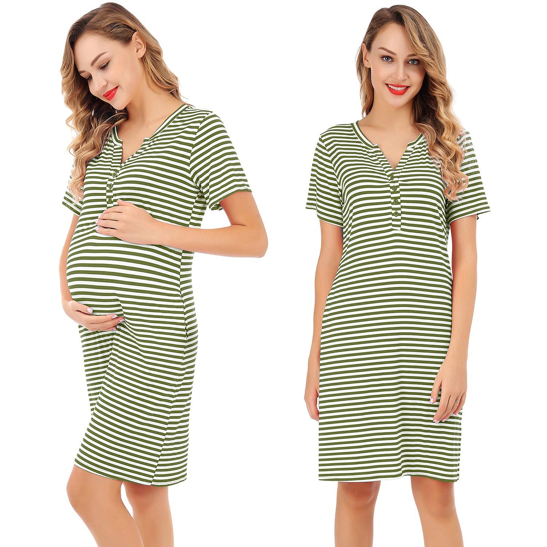 95dbf95ee0f3a FISOUL Women s Nursing Dress Short Sleeve Maternity Sleepwear Nightgown  Striped Breastfeeding Sleep Dress S-XL(Green