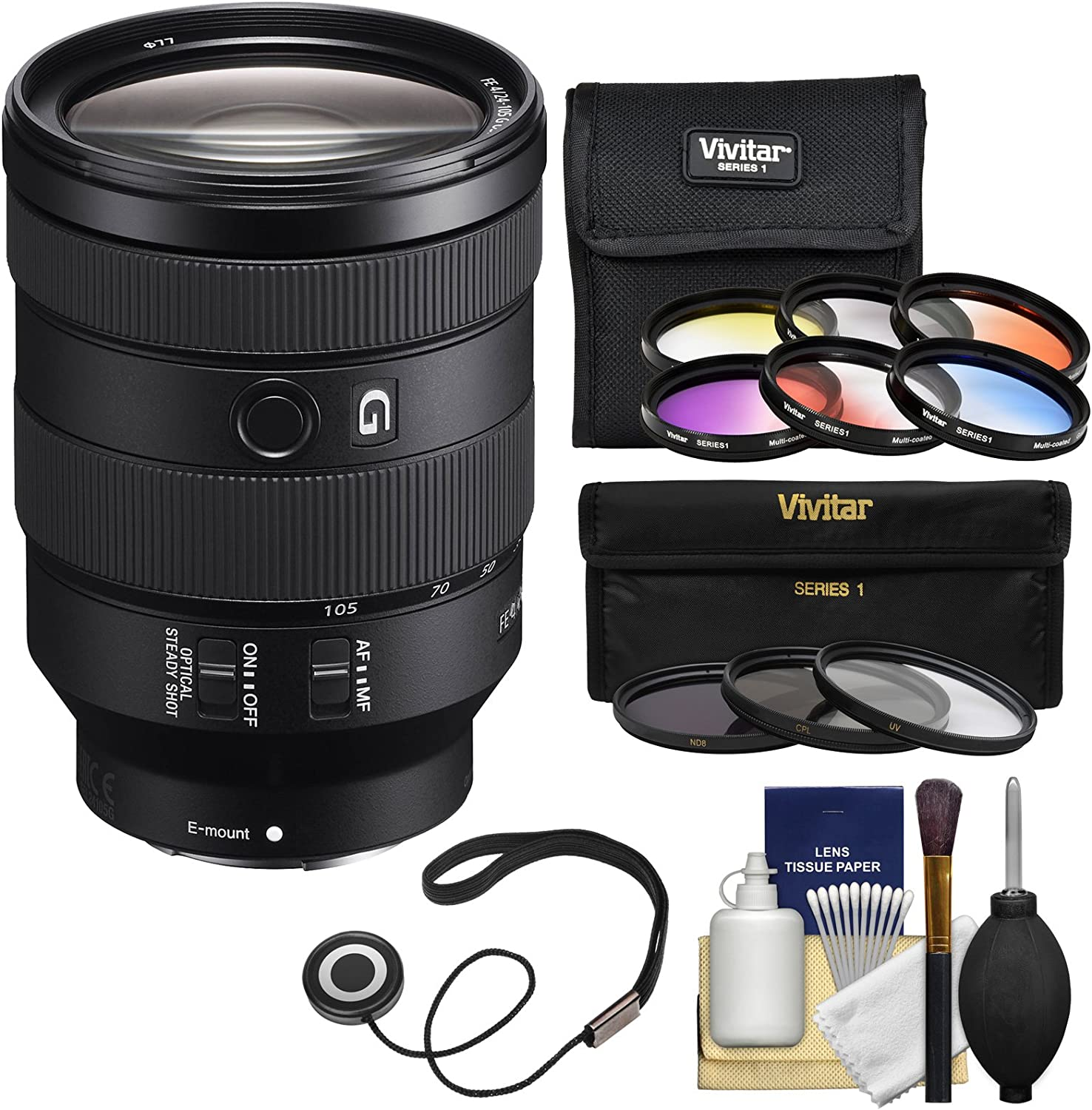 Sony Alpha E-Mount FE 24-105mm f/4.0 G OSS Zoom Lens with 3 UV/CPL/ND8 & 6 Graduated Color Filters + Kit