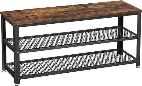 f/ür Eingangsbereich Schuhregal mit 2 Ablagen Wohnzimmer Schuhorganizer 100 x 30 x 45 cm vintagebraun-schwarz LBS078B01 Industrie-Design VASAGLE Schuhbank Flur Metallgestell