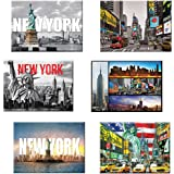 6 set New York NYC Souvenir Large Photo Picture Fridge Magnets 2.5 x 3.5 inch - Pack of 6