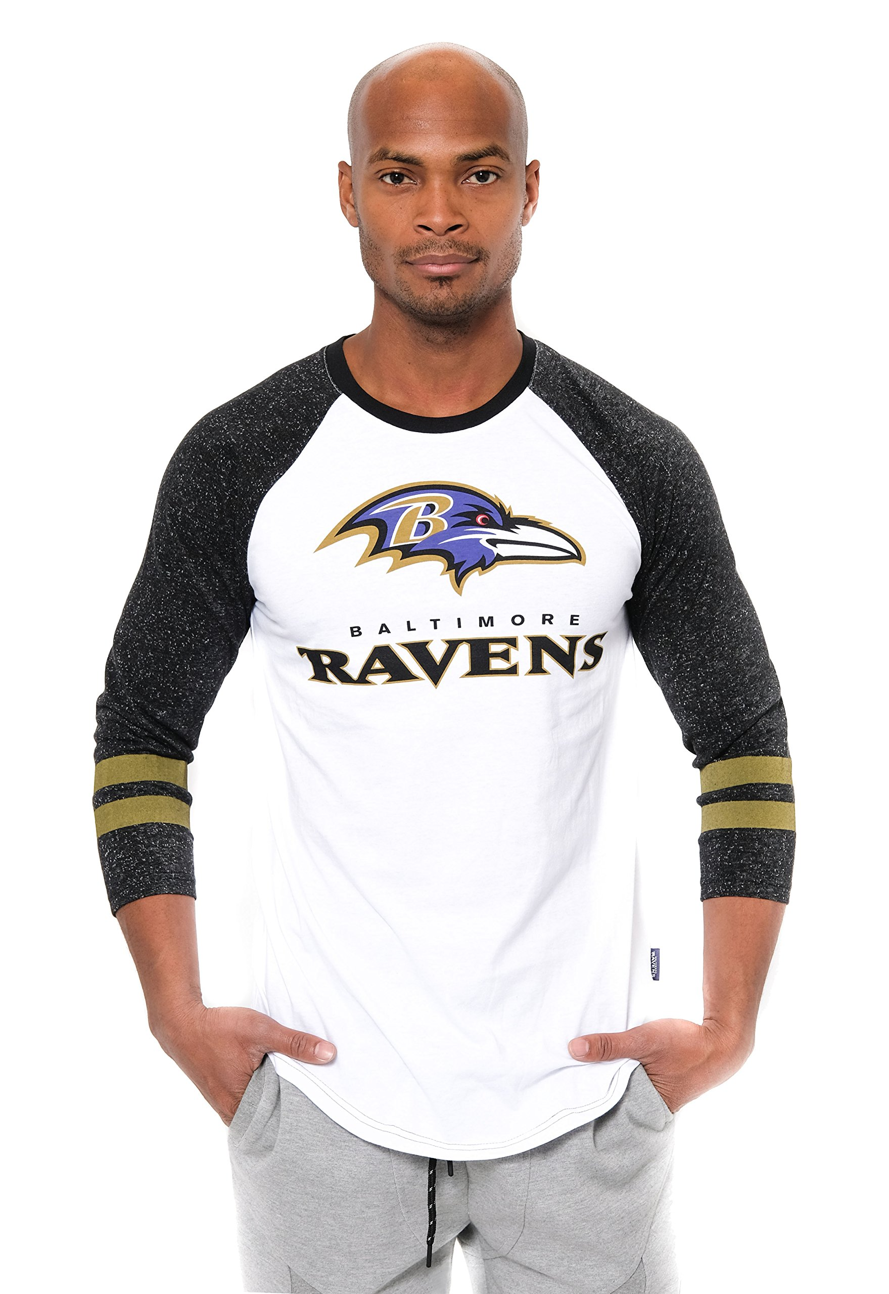 NFL Men's Baltimore Ravens T-Shirt Raglan Baseball 3/4 Long Sleeve Tee Shirt, X-Large, White