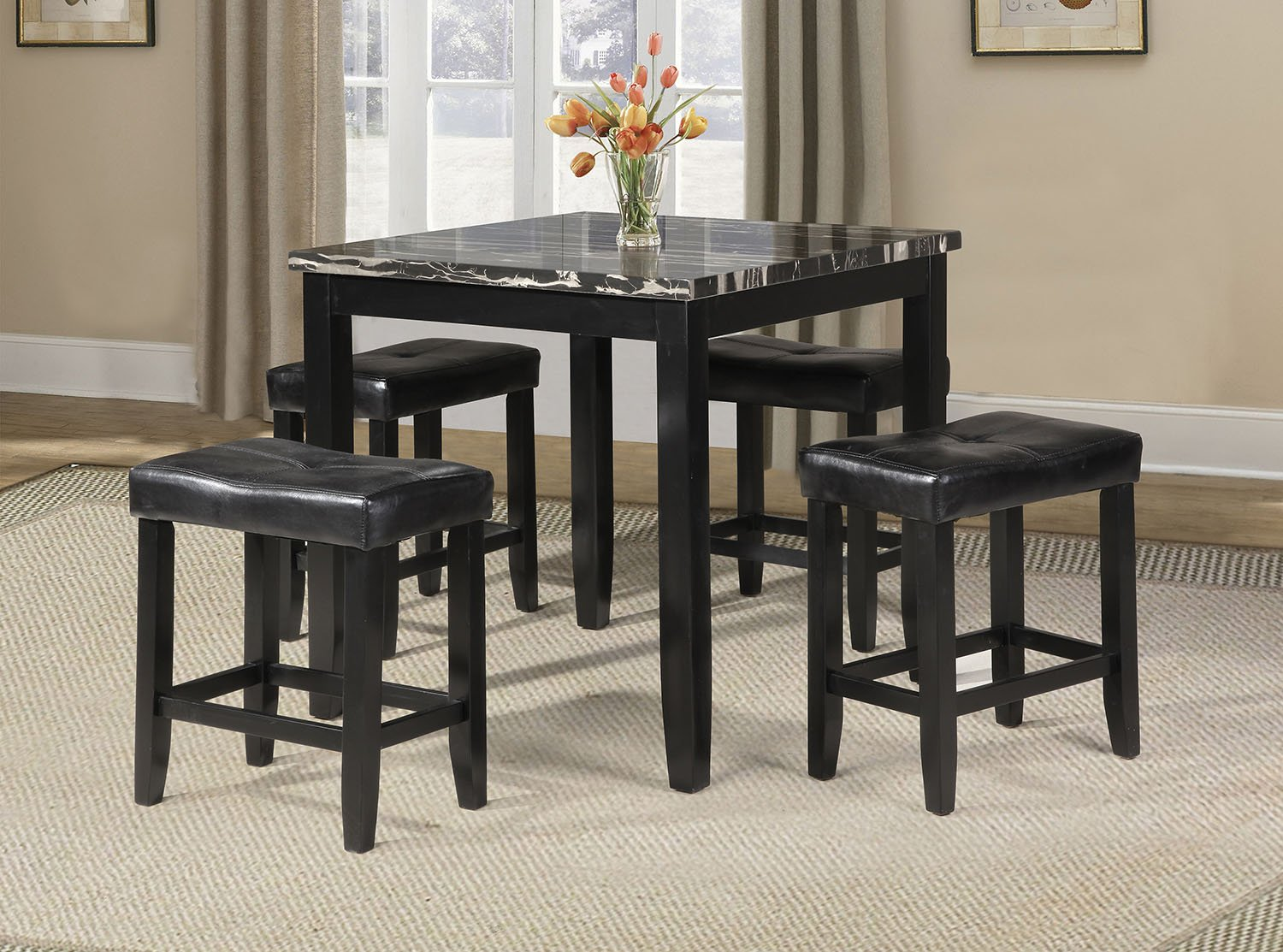 Acme Furniture 71095 Blythe 5 Piece Faux Marble Counter Height Set, Black