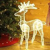 Renna luminosa a LED con luce bianca calda intermittente, 89 cm - Decorazione natalizia per esterni di Gartenpirat®