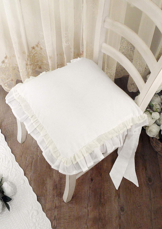 AT17 Coussin de Chaise /à Volant Volant Blanc//Gris Coussin de Chaise avec Deux Volant Shabby Chic et Romantique Galette de Chaise Volant/ée 40x40