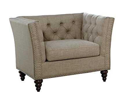 Brilliant Homelegance Marceau Tuxedo Style Chair With Flared Arm And Double Nailhead Accent Button Tufted Brownish Gray Bralicious Painted Fabric Chair Ideas Braliciousco