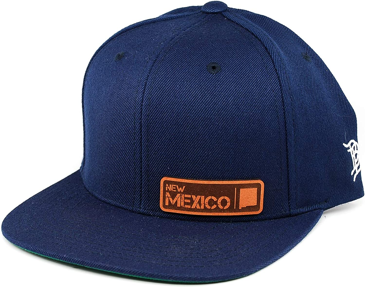 Branded Bills /'New Mexico Native Leather Patch Snapback Hat OSFA//Navy