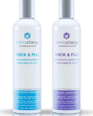 Natural Vegan Hair Growth Shampoo and Conditioner Set - Natural Hair Regrowth with Vitamins - Hair Loss & Thinning Products - Curly or Color Treated Hair - For Men and Women - Sulfate Free (4oz)
