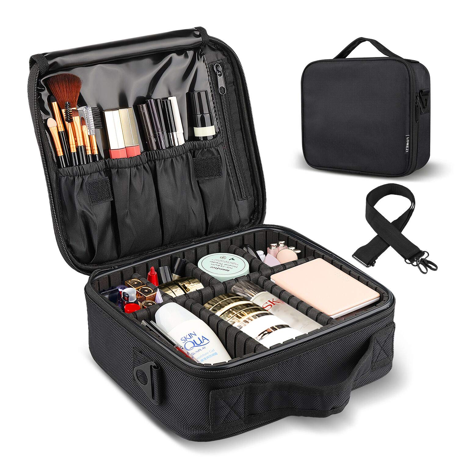 LOMEZI Makeup Train Case Professional Makeup Bag Travel Cosmetic Bag for Women Organizer Portable Storage Bag with Shoulder Strap Adjustable Dividers for Makeup Brushes Toiletry Travel Accessories