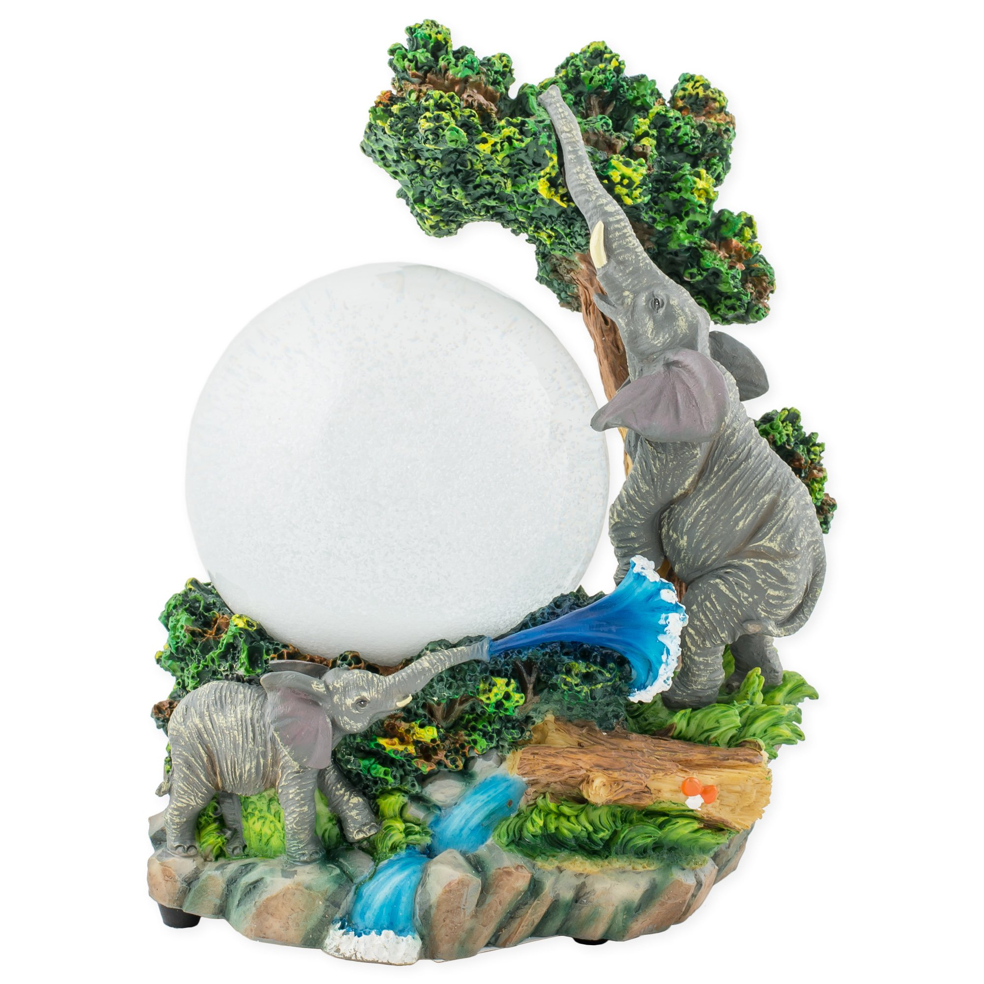 Playful Elephants in Jungle 100mm Resin 3D Water Globe Plays Tune Born Free