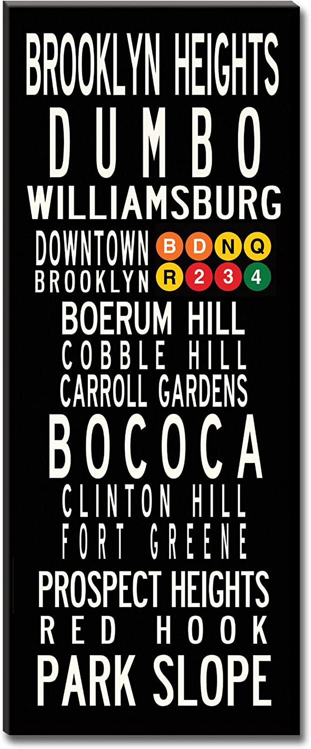 Subway Sign Wall Art-Brooklyn Neighborhoods- Gallery-Wrapped Canvas