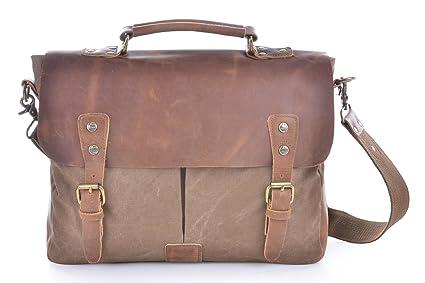 Image Unavailable. Image not available for. Colour  Gootium Vintage Canvas  Leather Messenger  Laptop Shoulder Bag Men s caa0eaf363815