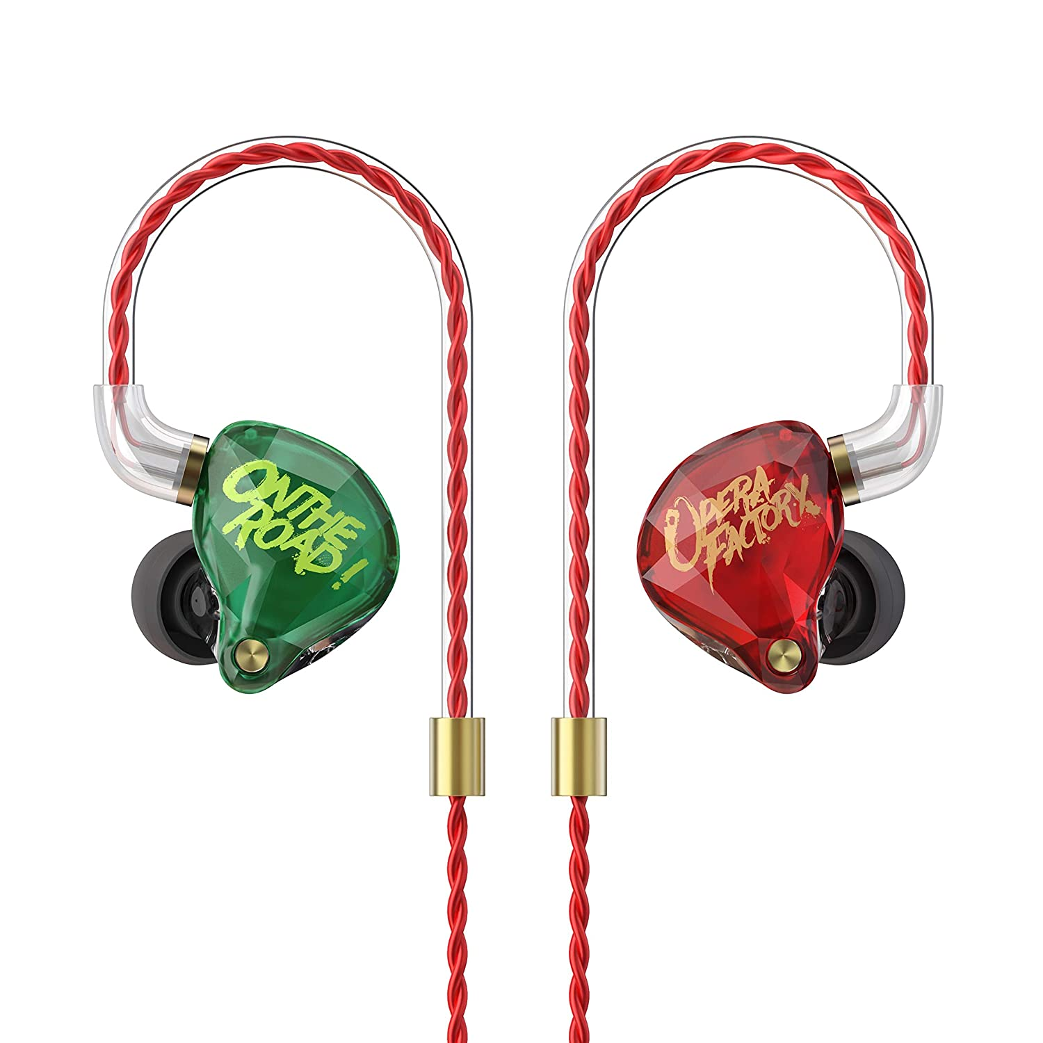 OperaFactory OM1 in ear headphones, Noise-Isolating In Ear Monitors,Hi-fidelity Stage Earphones,Wired metal headset Tri-frequency alignment With 2 Pin Detachable Cable Natural Sound Earbuds-With Mic Better