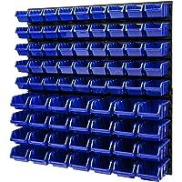 Opslagsysteem stapelboxen wandrek - 772 x 780 mm - 73 stuks boxen werkplaats lakenrek gereedschapswand (blauw)