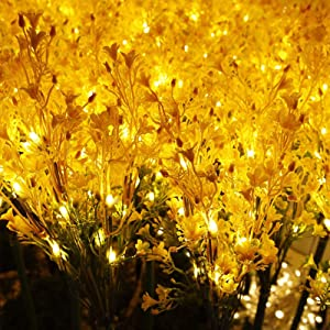 Solar Garden Lights Christmas Thanksgiving - Decorative Outdoor Fairy Garden Led Solar Powered Landscape Tree Lights,Flower Lights Stakes for Pathway Patio Yard Deck Pathway Walkway Decoration/2pack