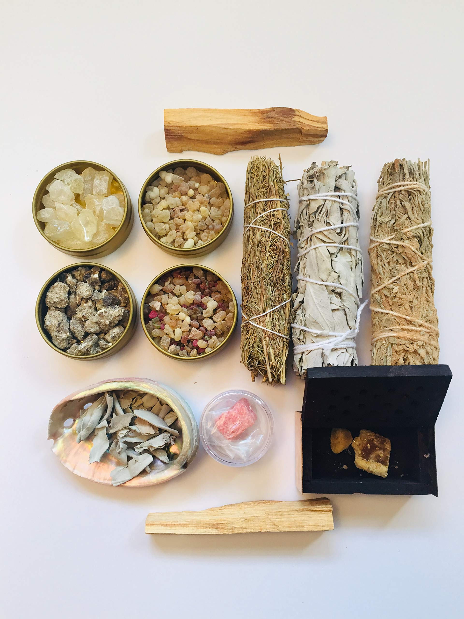 Resin Incense and Sage Smudges Variety Gift Kit includes, Amber Resin, Rose Resin, White Copal, Mystical Benzoin, Frankincense, White Sage Smudge, Desert Sage, Palo Santo Sticks and Abalone Shell by Sacred Scents For You (Image #2)