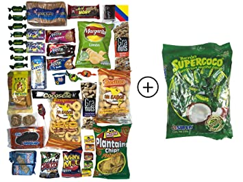 Colombian Snacks Sampler Box - Mecato Colombiano - Cookies, Chips & Candies Variety Pack (