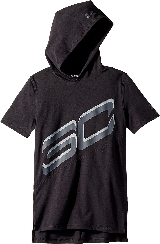 Black//Stealth Gray//Stealth Gray XL 18-20 Big Kids Under Armour Kids Boys Steph Curry 30 Short Sleeve Hoodie Big Kids