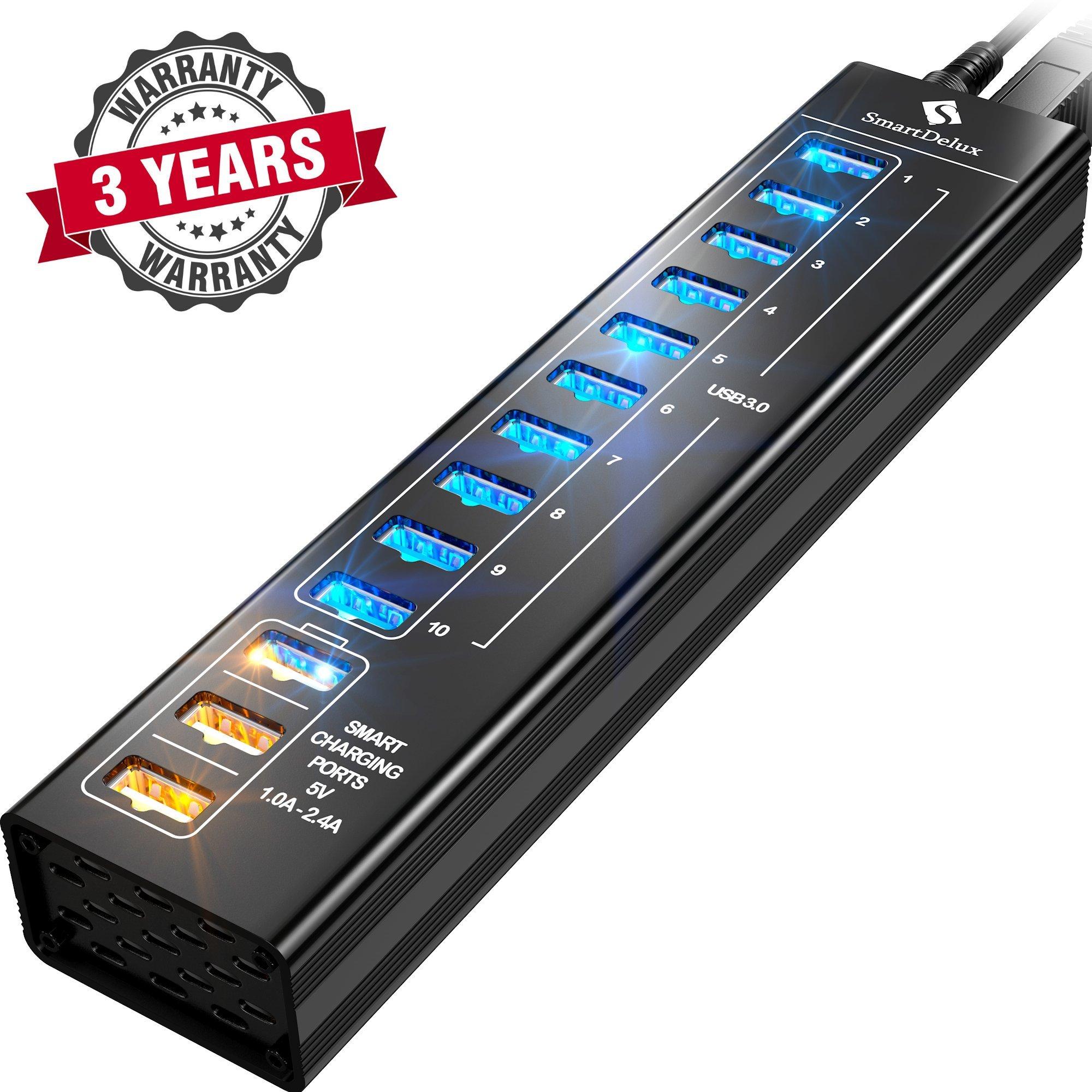 SmartDelux Powered USB Hub - 13-Port USB 3.0 Hub 10 USB 3.0 Ports, 3 Smart Charging Ports, Power Adapter, Long Cord, LEDs - Black Aluminum