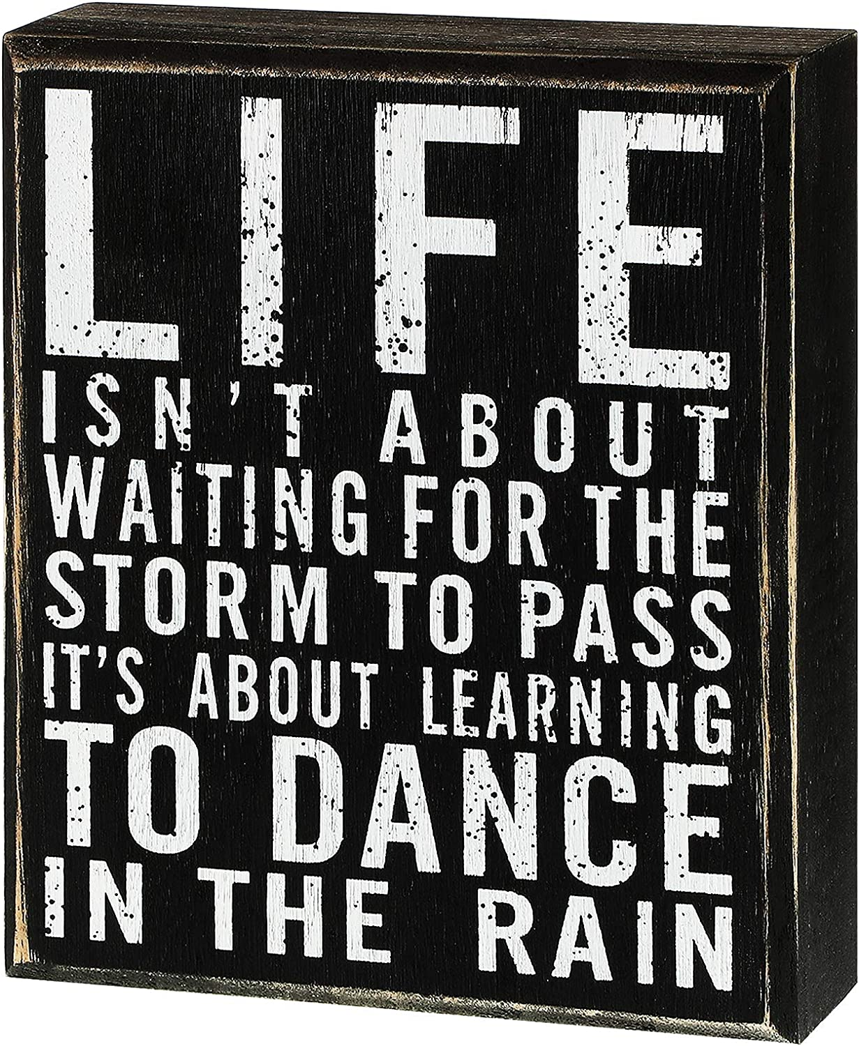 Jetec Classic Box Sign Wood Plaque with Inspiring Quotes Wall and Tabletop Decoration, 6 x 7 x 1.77 inch, Dance in The Rain