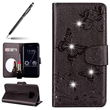 933911ae2ed Uposao Samsung Galaxy S7 Funda, Carcasa Galaxy S7 Slim Flip Cover Funda  Libro PU Piel Cartera ...
