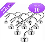 Magnetic Hooks,Maximum 22 LB Heavy Duty Neodymium Rare Earth Magnet Hook with 3 Layers' Ni Strong Corrosion Protection,Ideal for Indoor/Outdoor Hanging(Silvery White,Pack of 10)