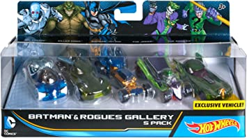 Hot Wheels - Set de 5 Coches Batman y los Villanos, Escala 1:64 (Mattel DJP11): Amazon.es: Juguetes y juegos