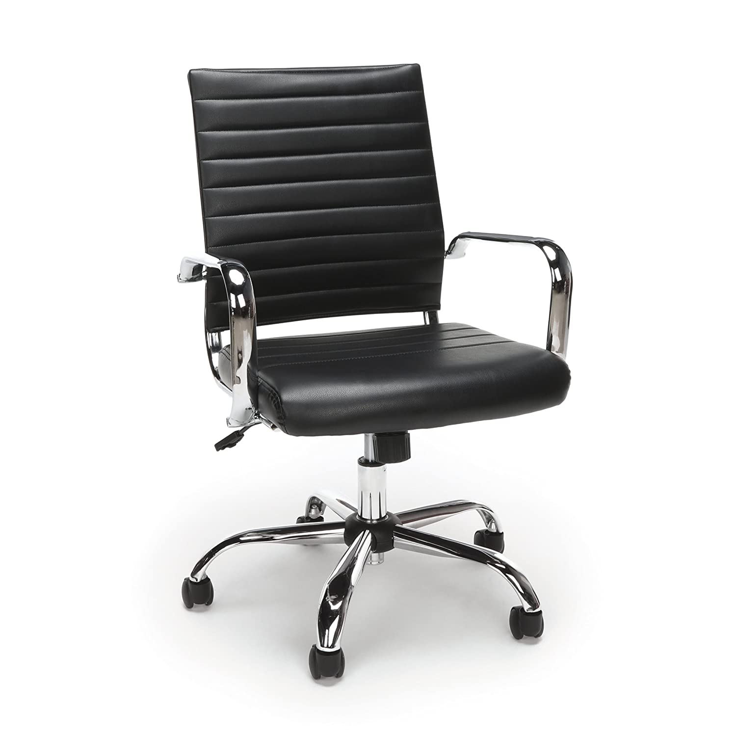 Essentials Soft Ribbed Leather Executive Conference Chair with Arms – Ergonomic Adjustable Swivel Chair, Black Chrome