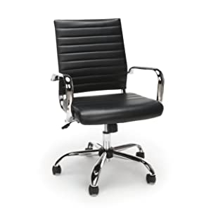 Essentials Soft Ribbed Leather Executive Conference Chair with Arms - Ergonomic Adjustable Swivel Chair, Black/Chrome (ESS-6095-BLK)