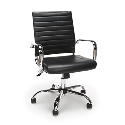 OFM Essentials Collection Soft Ribbed Bonded Leather Executive Conference Chair, in Black ESS-6095-BLK