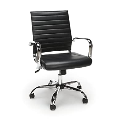 Essentials Soft Ribbed Leather Executive Conference Chair with Arms – Ergonomic Adjustable Swivel Chair, Black Chrome ESS-6095-BLK